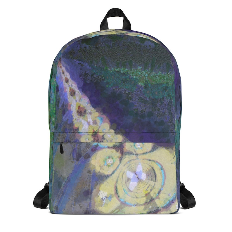 Butterfly Backpack with Blue Green Abstract Design College image 0