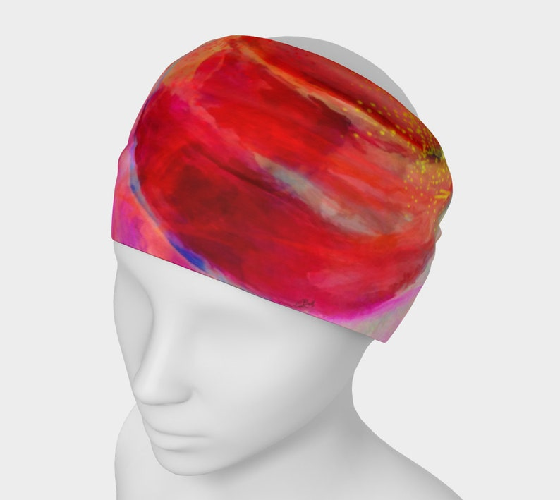Red Headband Wide No Slip Headband Chemo Headwear Gift for image 0