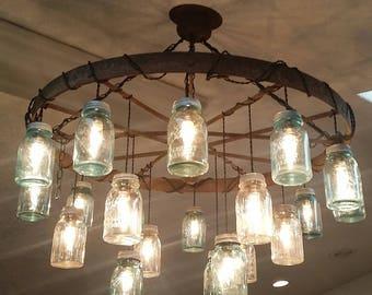Mason jar chandelier etsy popular items for mason jar chandelier aloadofball Gallery