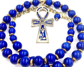 Blue & Gold Ankh Necklace //  Egyptian Jewelry // Kemetic Jewelry // Blue Enamel Ankh Pendant // Gold Ankh Necklace // Gift for Him or Her
