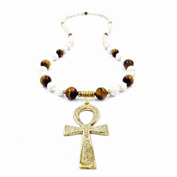 Tiger Eye Egyptian Ankh Necklace // Kemetic Jewelry // Tiger Eye Necklace  // Egyptian Jewelry // Spiritual Protection Jewelry