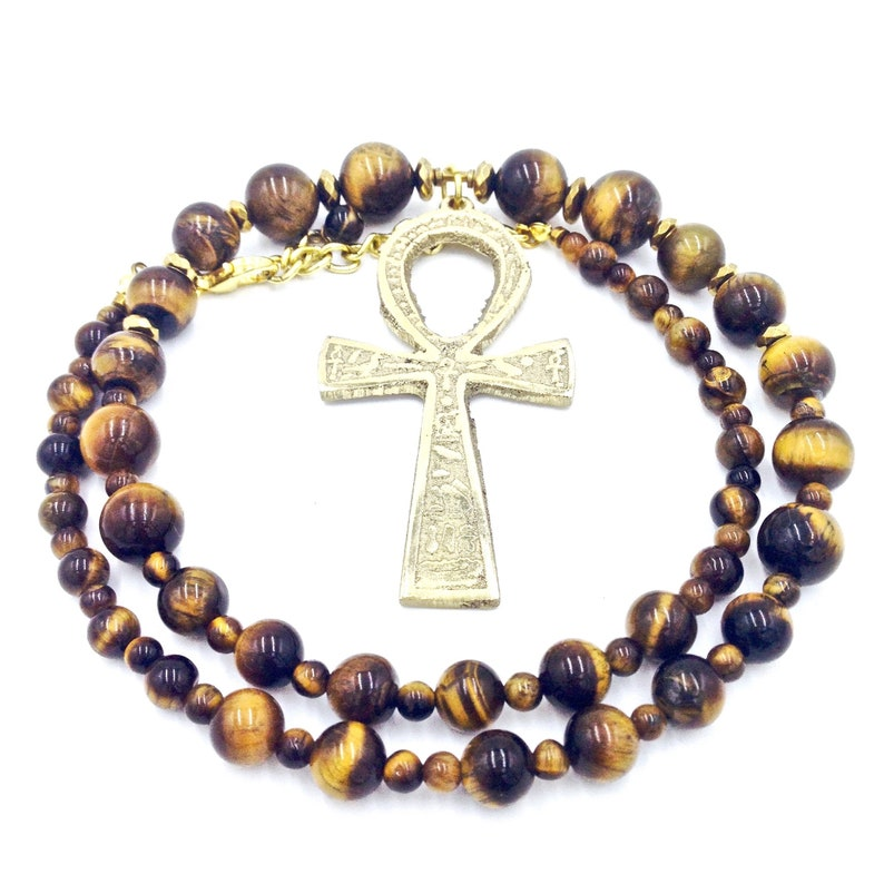 Tiger/'s Eye Jewelry  Egyptian Ankh Necklace  Kemetic Jewelry  Tiger Eye Necklace  Egyptian Jewelry  Spiritual Protection Jewelry