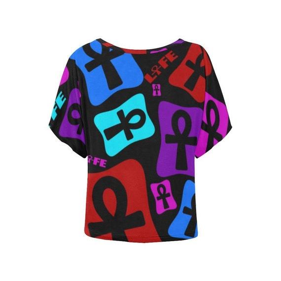 Egyptian Ankh Batwing Shirt for Women // African Clothing // Egyptian  Clothing // Kemetic Shirt // Key of Life Shirt // Ankh Top