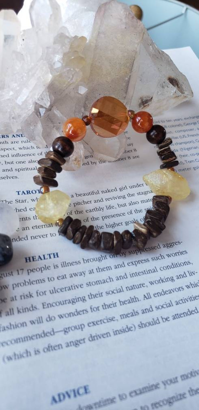 Dragons agate yellow titanium quartz orange facade glass wood beaded stretch bracelet bohemian hippie earthy shaman summer crystal healing