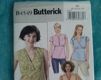 BUTTERICK, B4549, 4549, sewing pattern, size BB, 8, 10, 12, 14, shirt, peasant, tank top, casual, women, ladies, short sleeve
