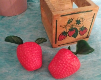 vintage, 1970's Strawberry shaped candy containers and wooden box, collectibles, kitsch, candy, container, plastic