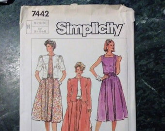 SIMPLICITY, 7442, sewing pattern, size N, 10, 12, 14, retro, gathered skirt, square neck dress, jacket, sewing, pattern, dress, square neck