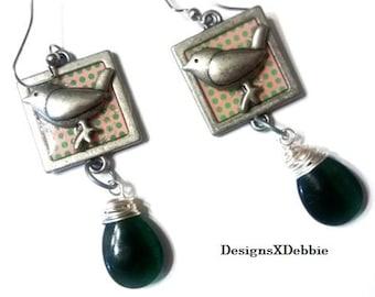 handmade pierced earrings, SPRINGS SWEET SONG, dangle, bird, nature, woodland,green,brushed nickel,pewter,glass,earrings,jewelry,accessories