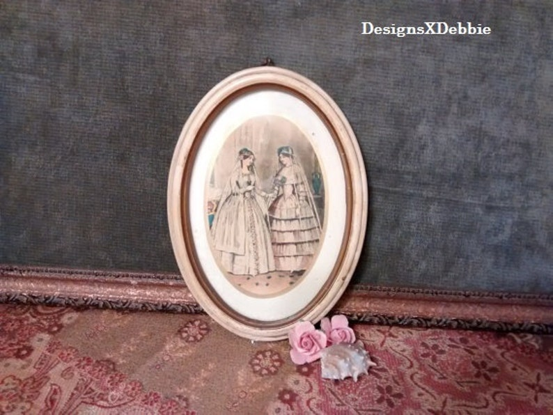 VINTAGE FRAMED FASHION Plate, vintage, retro, home decor, bridal, fashion,  boutique, Victorian, Edwardian
