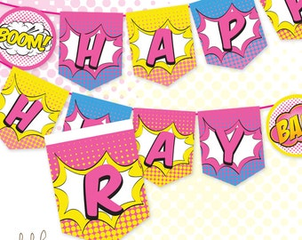 Superhero Girl Happy Birthday Banner Sign Pennant Party Decoration Instant Download
