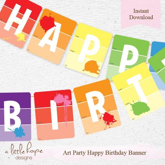 Art Party Happy Birthday Banner Happy Birthday Pennant Diy Etsy