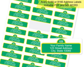 Instant Download -  Street Sign Address Labels  / Return Address Labels & Recipient Address Labels  / Editable PDF and MS Word