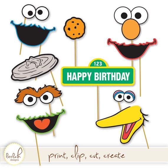 Printable Photo Booth Props Elmo Cookie Monster Oscar The Grouch Big Bird Bert Ernie Instant Download Diy Digital