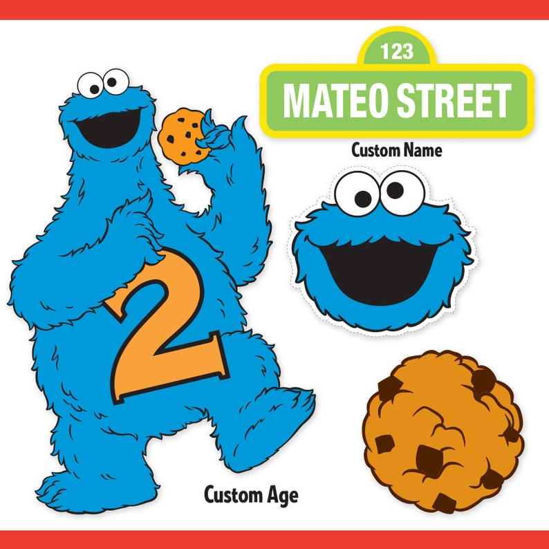 image about Cookie Monster Printable known as Customized Printable Sesame Highway Cookie Monster Centerpiece Exhibits / Cookie Monster Birthday / Cake Topper
