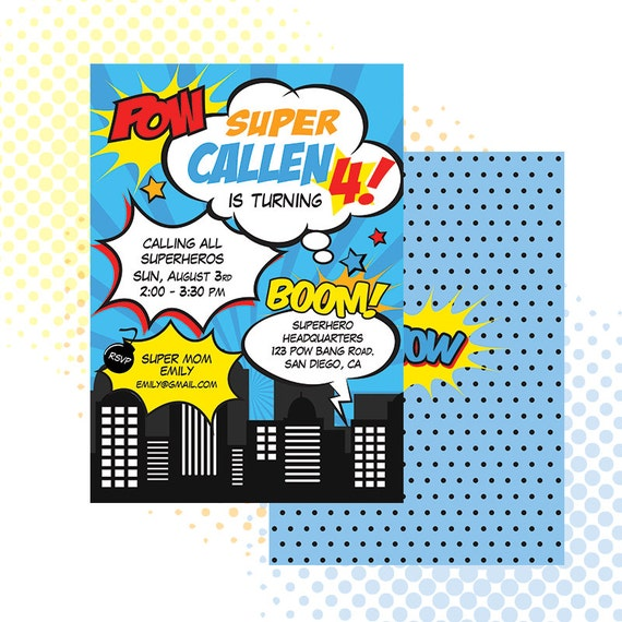 Custom PRINTABLE Superhero Birthday Invitation Invite