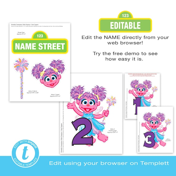 Abby Cadabby Centerpiece Displays Editable Edit Online Using Templett Printable Instant Download Instant Access