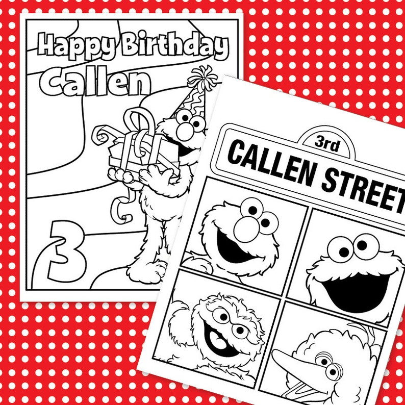 Custom Printable Birthday Coloring Sheets 4 Designs Etsy