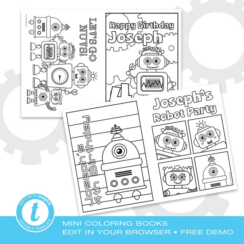 Robot Party Editable Mini Coloring Books Edit in your web | Etsy