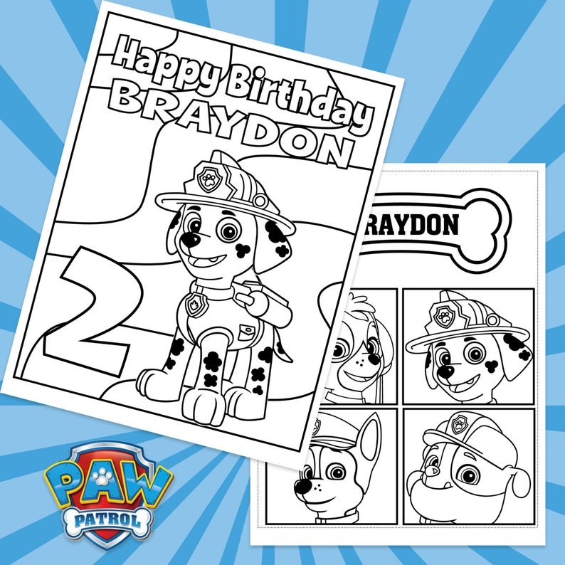 graphic regarding Paw Patrol Printable Birthday named Paw Patrol Personalized Printable Birthday Coloring Sheets 4 Patterns! / Coloring Website page / Get together Game / Do it yourself Electronic