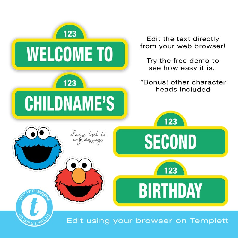 Sesame Street Welcome Sign Happy Birthday EDITABLE