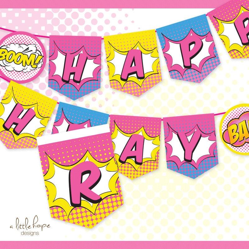 Superhero Girl Happy Birthday Banner / Sign / Pennant /