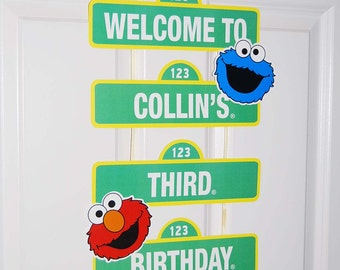 Custom Printable Birthday Sign / Welcome Sign / Party Decoration / Elmo and Cookie Monster