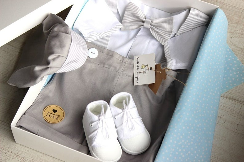 Baby Junge Taufe 5 Stück Weiß Taufe Outfit Säugling Taufe Taufe Outfit Baby Junge Taufe Engagement Outfit Grau
