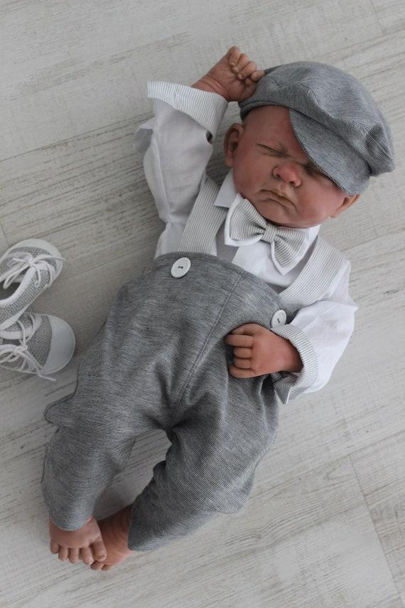 Baby Junge Taufe Taufe Baby Boy Outfit Outfit Gott Segne Taufe Geschenk Body Hut Fliege Weißgrau