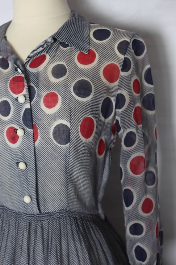 Vintage 1940s Red Blue Polka dot sheer dress, xs … - image 6