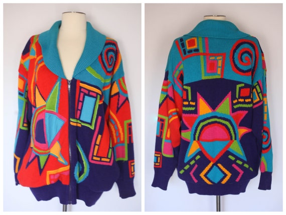 vintage 90s coogi style sweater, 90s chunky oversi