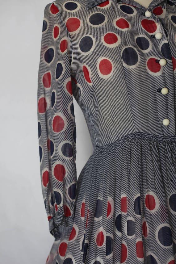 Vintage 1940s Red Blue Polka dot sheer dress, xs … - image 10