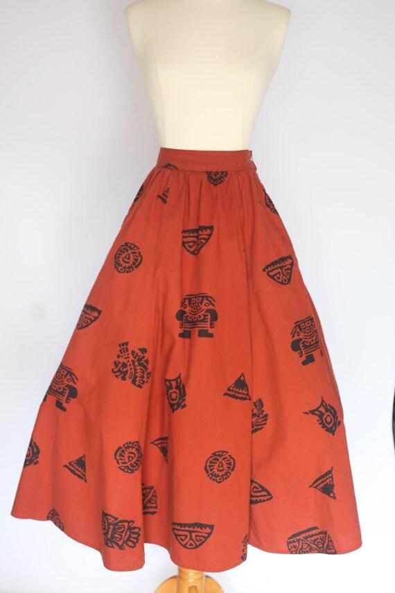 1980s does 1950s skirt, 1980s novelty print skirt… - image 6