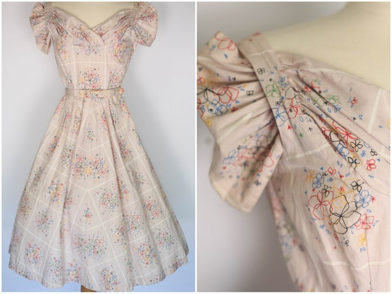 1950s floral print dress, vintage 50s dress, 1950s