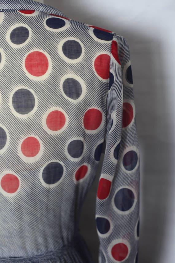 Vintage 1940s Red Blue Polka dot sheer dress, xs … - image 8