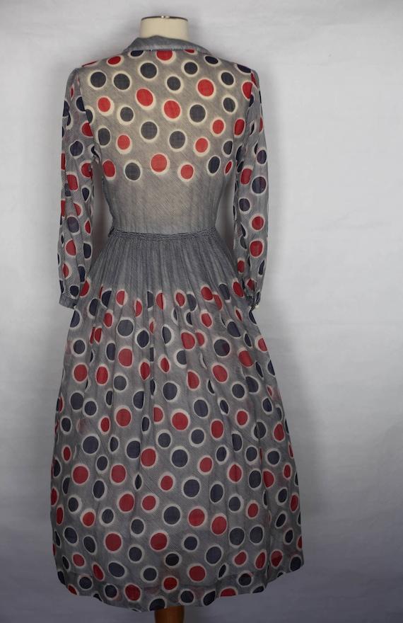 Vintage 1940s Red Blue Polka dot sheer dress, xs … - image 5