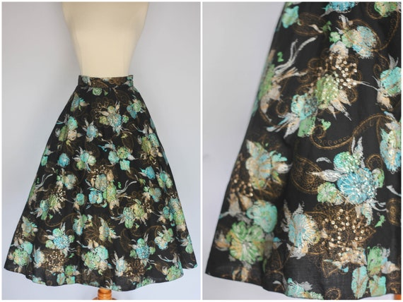 1950's Skirt, Black Novelty Skirt, High Waist Skir