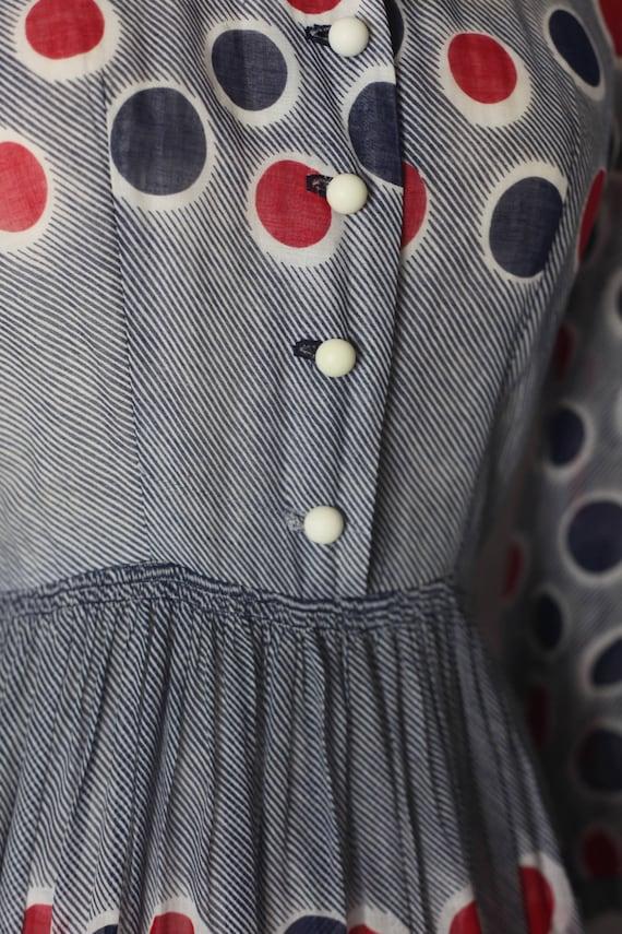 Vintage 1940s Red Blue Polka dot sheer dress, xs … - image 9