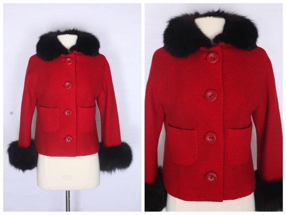 1950s coat, 1950s fur collar coat, vintage 50s coa
