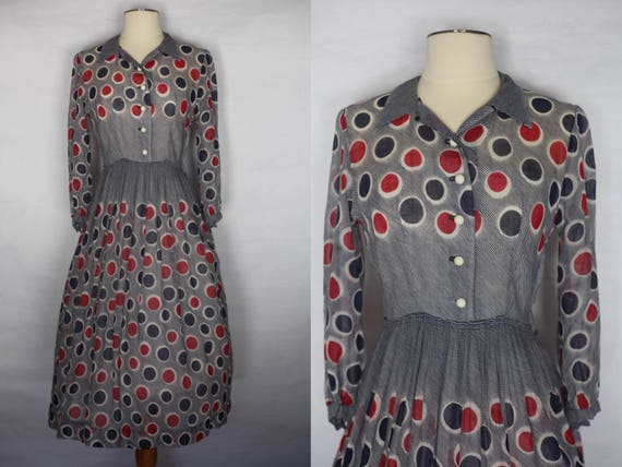 Vintage 1940s Red Blue Polka dot sheer dress, xs 1