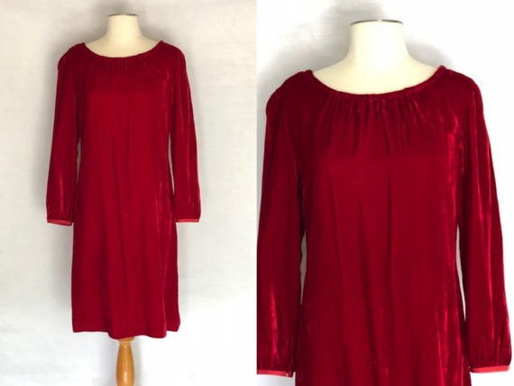 1950s red velvet dress, 1950s shift dress, vintage