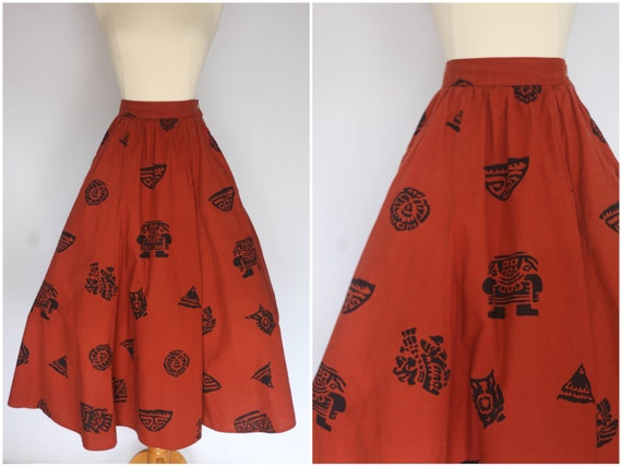 1980s does 1950s skirt, 1980s novelty print skirt,