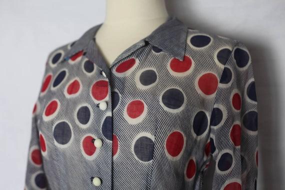 Vintage 1940s Red Blue Polka dot sheer dress, xs … - image 7