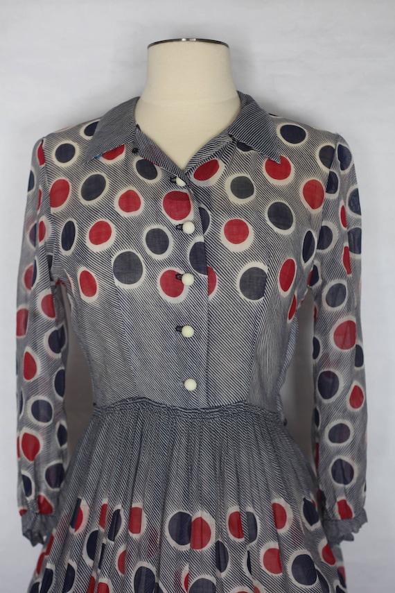 Vintage 1940s Red Blue Polka dot sheer dress, xs … - image 2