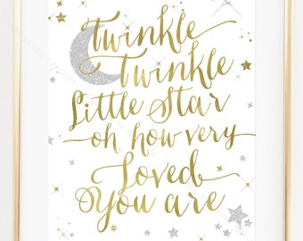Twinkle Twinkle Little Star Printable Printable Nursery, Baby Shower or Birthday Sign: White, Gold & Silver Sparkle INSTANT DOWNLOAD