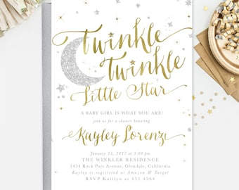 Twinkle Twinkle Little Star Baby Shower Invitation, Star Sprinkle Invitation, Girl Or Boy: White Gold & Silver Party, Invite - Star