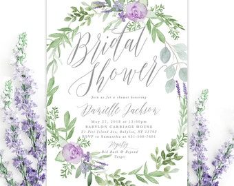 purple bridal shower invitation floral bridal shower invitation lavender bridal shower invite greenery bridal shower invite danielle