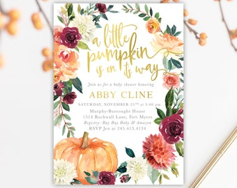 Fall baby shower invitations etsy a little pumpkin is on its way fall baby shower invitation burgundy wine blush pink orange fall florals printed or printable fall 7 filmwisefo