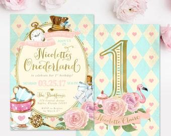 Alice invite etsy alice in wonderland onederland girls 1st birthday party invitation first birthday any age girl birthday invite printed or digital filmwisefo