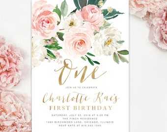 Girl First Birthday Invitation Girls Party Invite 1st One Floral Blush Pink White Roses Gold Greenery