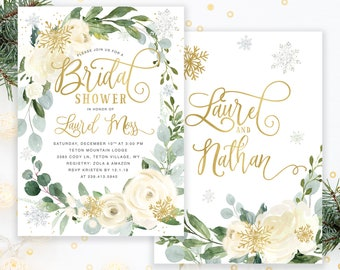 winter bridal shower invitation snow bridal shower invite holiday bridal shower invite white florals greenery snow invite holiday 45